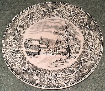 Adams Currier Ives New England Winter Scenes Holly Rim Dinner Plate Black White