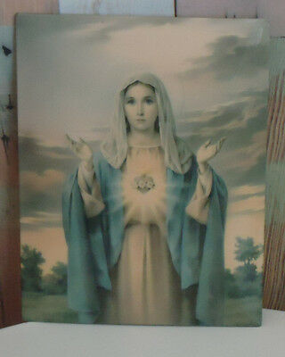Vintage Art Deco Picture *Our Lady of the Sacred Heart *Catholic Religious