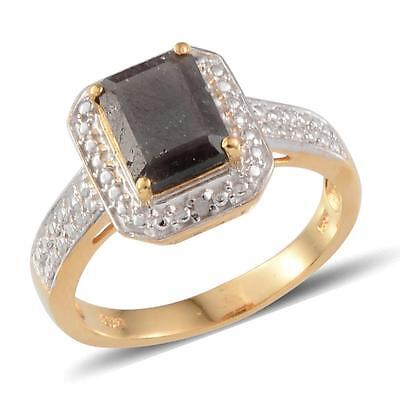 Silver Sapphire, Diamond Ring in 14K Yellow Gold 925 Sterling Silver Size 9