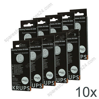 10X Krups Xs3000 Cleaning Tablets For Coffee Espresso Machine Xp, Ea, Es Models