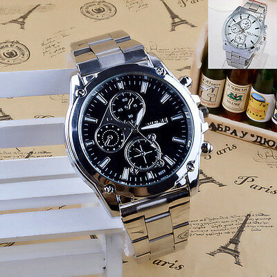 Fashion Men's Stainless Steel Band Watch Big Round Quartz Analog Wrist Watches