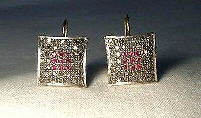 Victorian Style 2.00 Ct Rose Antique Cut Diamond & Ruby Silver Earrings