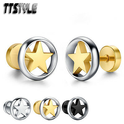 TTstyle 10mm Round Hollow Stainless Steel Star Fake Ear Plug Earrings Pair NEW