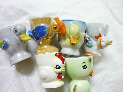 Vintage Egg cups Japan - chickens Ducks x 6