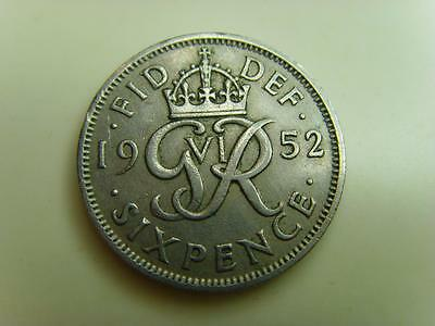 1952 SIXPENCE KING GEORGE VI BRITISH COIN GREAT BRITAIN SIX PENCE 6d SCARCE DATE