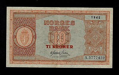 NORWAY  10  KRONER 1945 A PICK # 26a  VF-XF BANKNOTE.