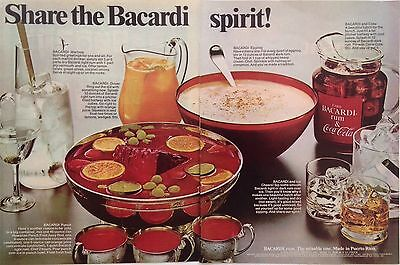 1977  SHARE THE BACARDI SPIRIT!  With Eggnog COCA COLA Drink Recipes PRINT AD