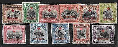 NORTH BORNEO SG235/45 1918 RED CROSS 4c SURCHARGE SET TO 24c USED