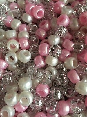 200 Pretty Pink Princess Mixed Pony Beads,Dummy Clips,KeyRing, Bracelet Making