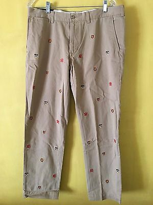 NEW Polo Ralph Lauren Embroidered Shield Crest Chinos Khaki Pants Slim Fit 36/30