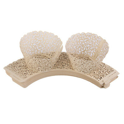 50pcs Laser Cut Cupcake Wraps Muffin Wrapper Wedding Party Decoration Ivory