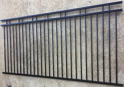 2400mm Aluminium Pool Fence Panel - Black DOUBLE RAIL Fencing 2.4x1.2