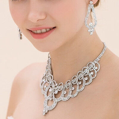 Sparkling Rhinestone Crystal Necklace Earring Jewelry Set For Wedding Bride