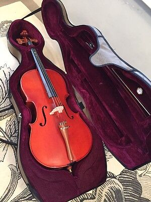 deluxe 3/4 cello set, inc bow, hard case, rosin, upgraded strings
