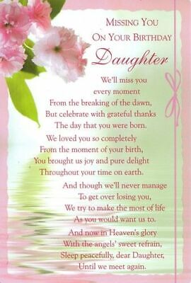 Grave Card MISSING YOU ON YOUR BIRTHDAY DAUGHTER Graveside Verse Funeral Tribute