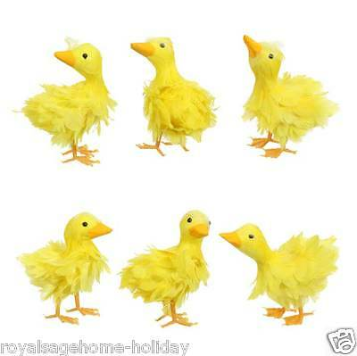 "E3621908 Set/3 RAZ 4"" Yellow Feathered Duck Easter Spring Table Decoration"