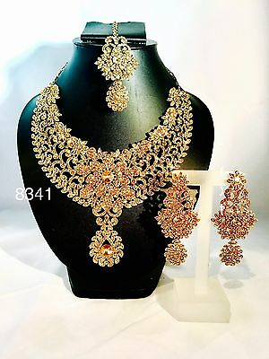 New Indian Bollywood Costume Jewellery Necklace Set Gold & Silver Polish