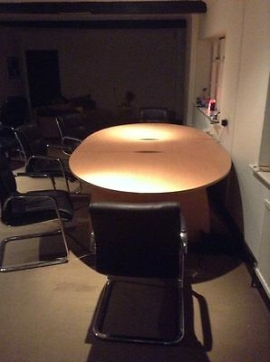 Meeting Room Table with 10 Leather Chairs