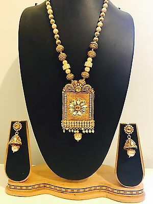 Indian Ethnic Bollywood Style Party Wear Long Gold Necklace Set with Earrings