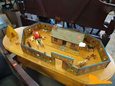 VINTAGE 1950s MARX FORT DEARBORN WESTERN PLAY SET  WITH CABIN, COWBOYS & INDIANS