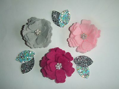 Machine Die Cut Rolled Felt Flowers for Hair Accessories, Collages and Garlands.