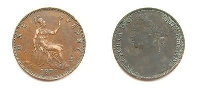 Victoria 1879 Bronze Young Head Penny - Rare Small Date Variety - F98