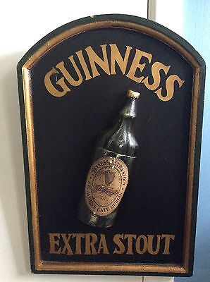 Guinness Extra Stout Beer Bottle Wood Irish Pub Wall Sign Rare Black And Gold