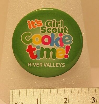 "Girl Scout - ""it's Girl Scout Cookie time!"" - River Valleys, MN - Button/Pin"