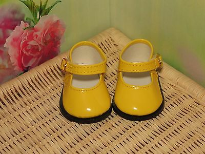 Shoes To Fit The Galoob Baby Face American Girl Doll Yellow Shiny Maryjane