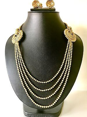 Indian Bollywood Style Party Wear Long Gold Necklace Set with Earrings