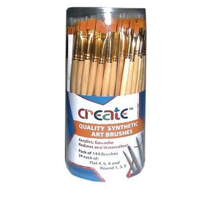 Create -Quality Synthetic Brush Canister (144 Brushes)CLASSPACK Mixed Flat/Round
