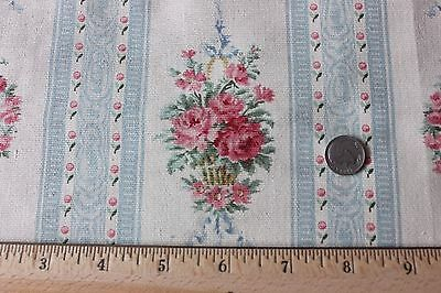Antique French Victorian Roses & Baskets Textile Fabric Sample c1890~Dolls
