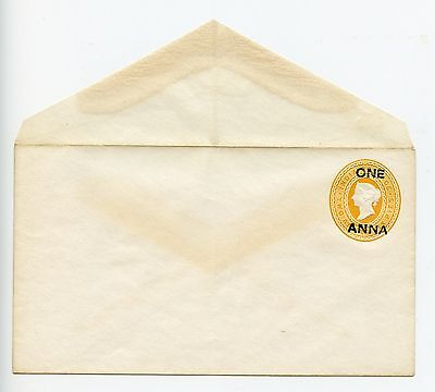 India QV postal stationery envelope unused (G778)