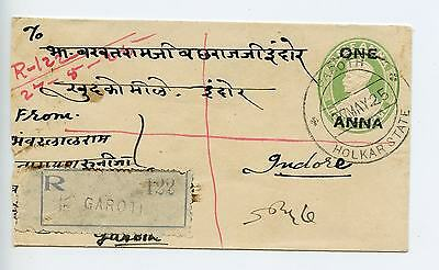 India KGV postal stationery envelope used 1925 Garoth   Indore registered (K881)