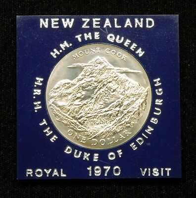 "New Zealand 1 Dollar 1970 Coin ""Royal Visit"" in Plastic Case"