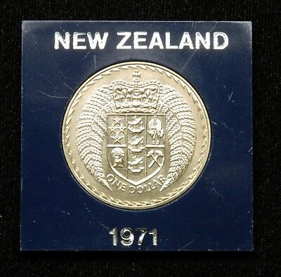 New Zealand 1 Dollar 1971 Coin in Plastic Case