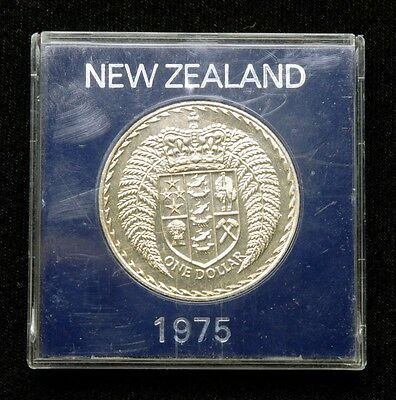 New Zealand 1 Dollar 1975 Coin in Plastic Case
