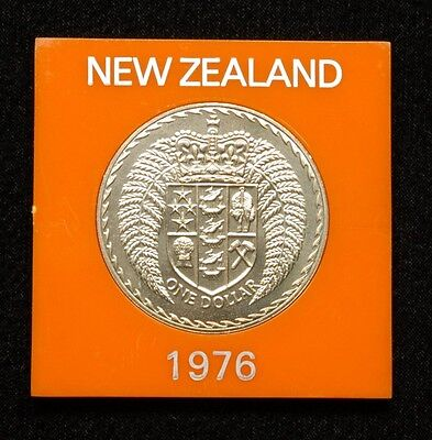 New Zealand 1 Dollar 1976 Coin in Plastic Case