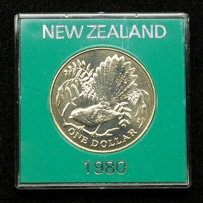 New Zealand 1 Dollar 1980 Coin in Plastic Case