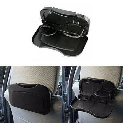 1X Universal Car Plastic Foldable Meal Drink Cup Tray Holder Dinner Table Black