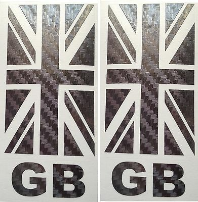 Great Britain GB UK Union Jack Number Plate CARBON Sticker Car Badge