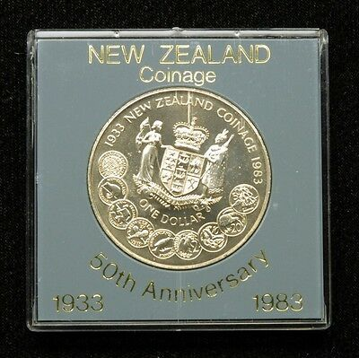 New Zealand 1 Dollar 1983 Coin in Plastic Case
