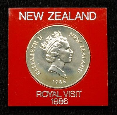 "New Zealand ""Royal Visit"" 1 Dollar 1986 Coin in Plastic Case"