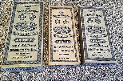 Vintage Antique 3 Thread Boxes Clark's O.N.T. for Hand & Machine Sewing Larger