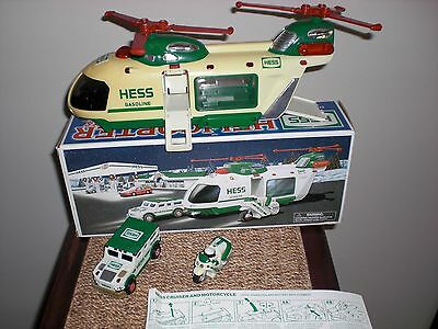 2001 Hess Helicopter with Motorcycle and Cruiser, Mint Boxed