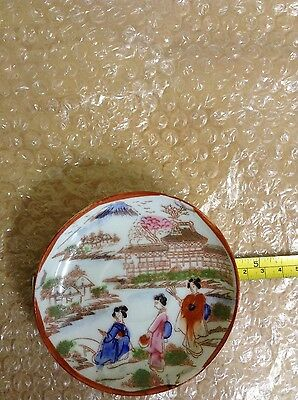 A Lovely Antique Oriental Saucer With 3 Gasha Girls With A Village In Backround
