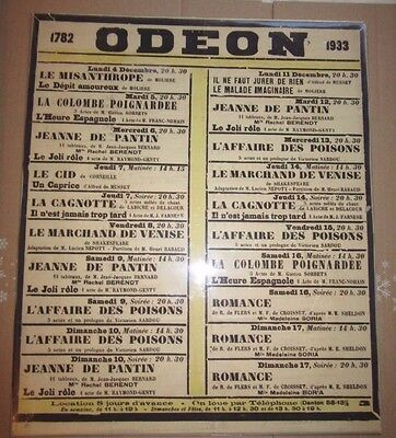 1933 - Original Vintage French Theatre Poster - ODEON - Shakespeare - Moliere