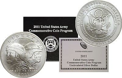 2011-S $1 United States Army Uncirculated Silver Commemorative Dollar OGP W/COA
