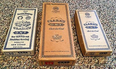 Vintage Antique 3 Thread Boxes Clark's O.N.T. Best Six Cord