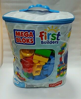 Mega Bloks First Builders blocks Blue bag - 80 pieces NEW